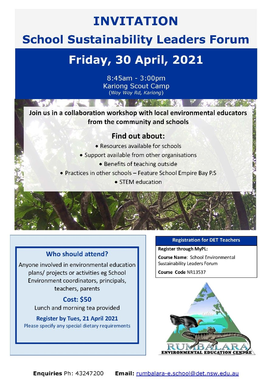Flyer for Schools Sustainability Leaders Forum